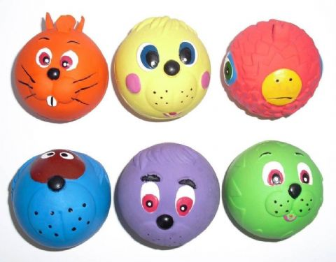 New BULK BUY 6 Armitage Good Boy Latex FACE BALL Dog TOY Puppy 1 of each colour